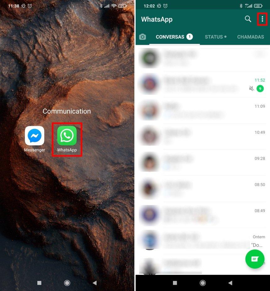 Como apagar a sua conta do WhatsApp - Passo 1