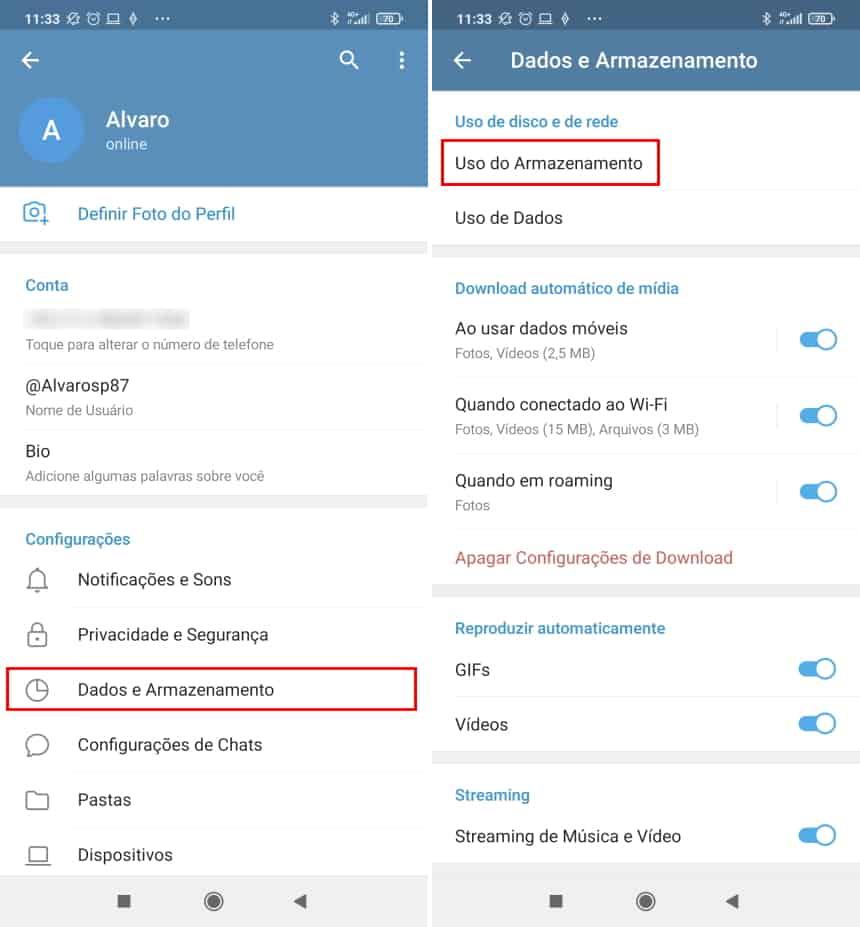 Como fazer o Telegram apagar imagens e outros itens recebidos de forma automática - Passo 2