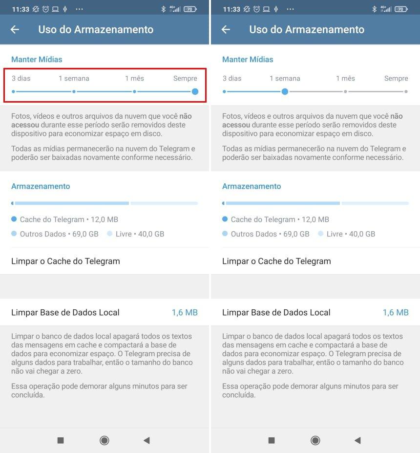 Como fazer o Telegram apagar imagens e outros itens recebidos de forma automática - Passo 3