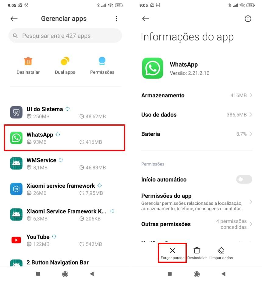 Como recuperar conversas apagadas do WhatsApp no Android - Passo 2