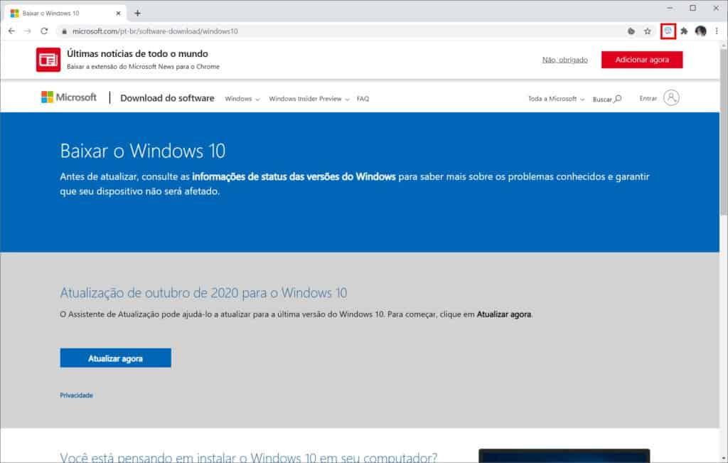 Como baixar a ISO do Windows 10 do site da Microsoft - Passo 4