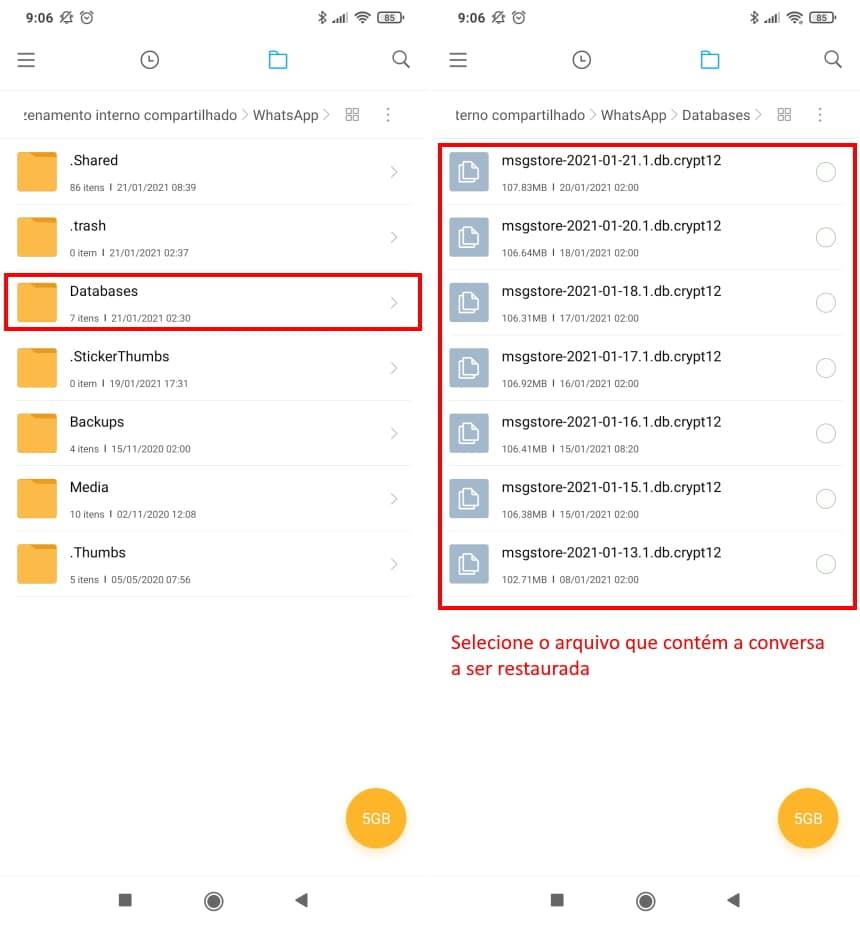 Como recuperar conversas apagadas do WhatsApp no Android - Passo 4