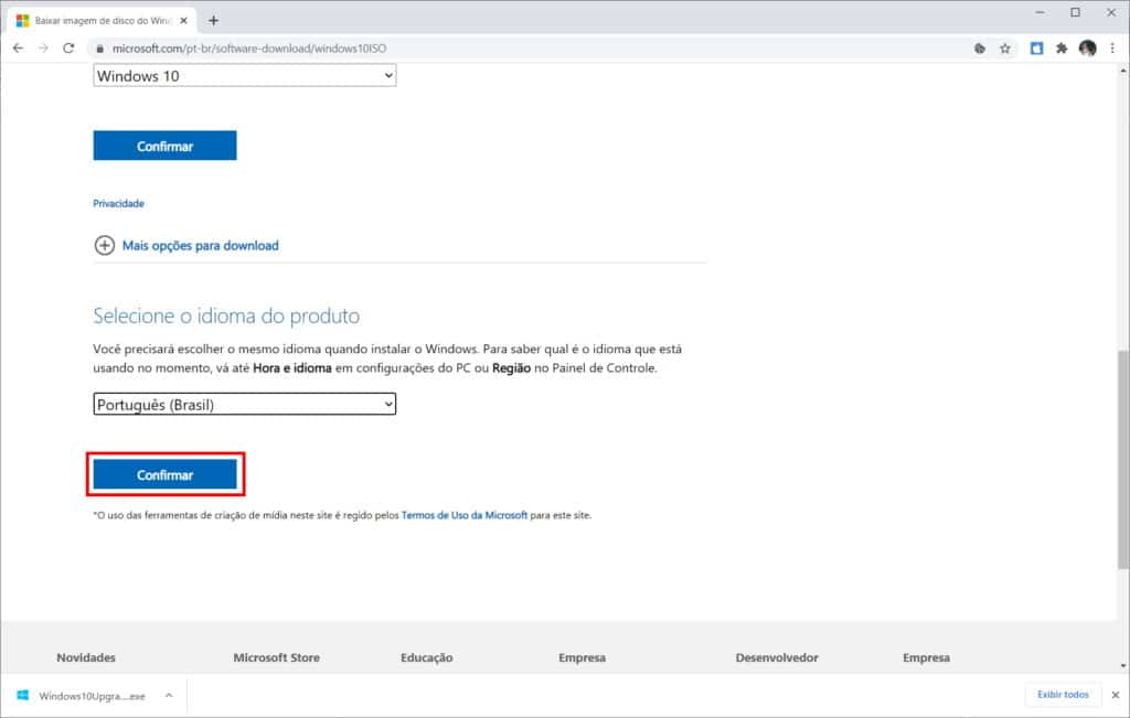 Como baixar a ISO do Windows 10 do site da Microsoft - Passo 7