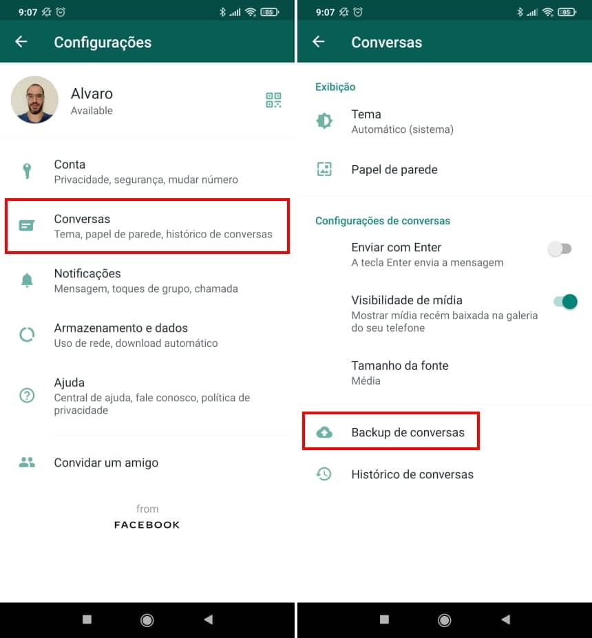 Como recuperar conversas apagadas do WhatsApp no Android - Passo 8