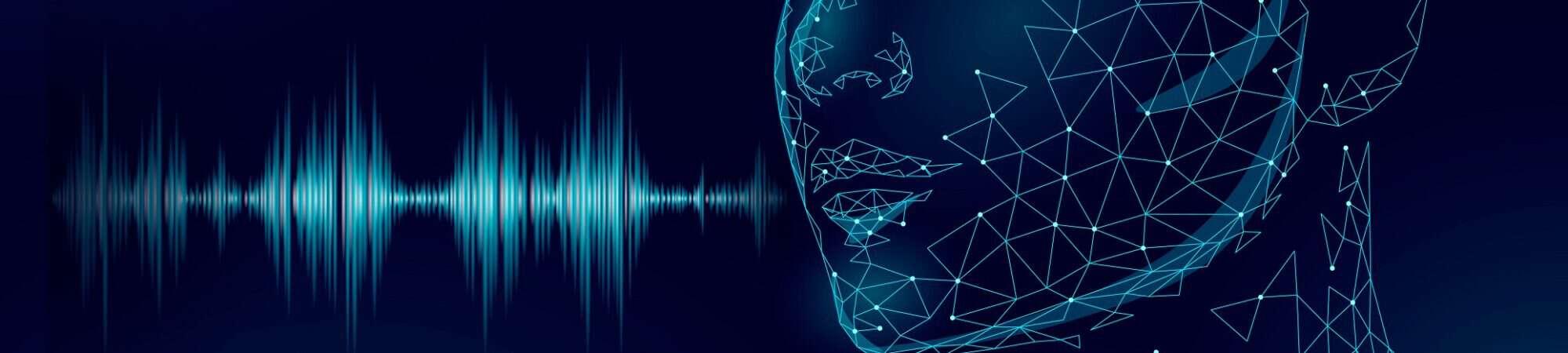 Ilustração mostra uma feição humana emitindo ondas de rádio pela boca, para representar uma assistente virtual