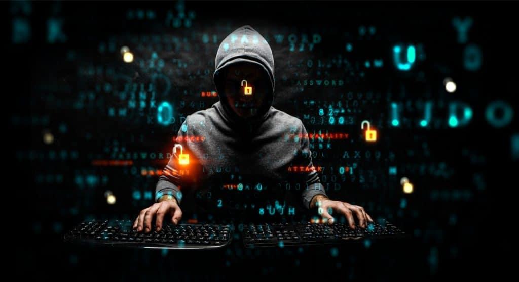 image of a hacker leaking data
