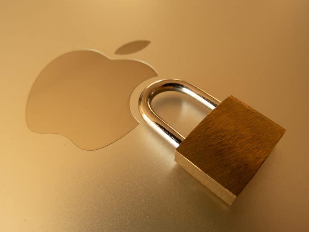 Símbolo de Apple con candado al lado