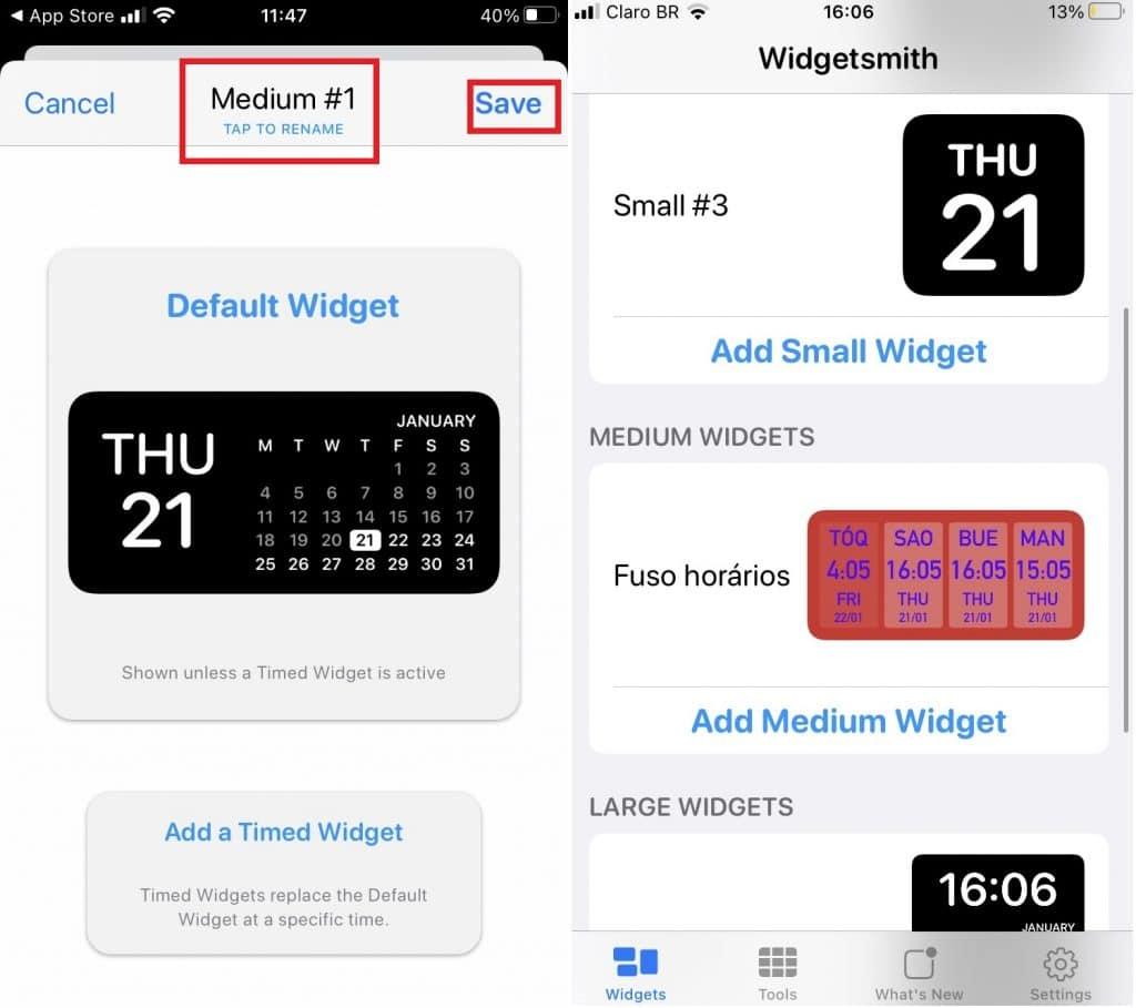 La captura de pantalla muestra cómo funciona la aplicación Widgetsmith