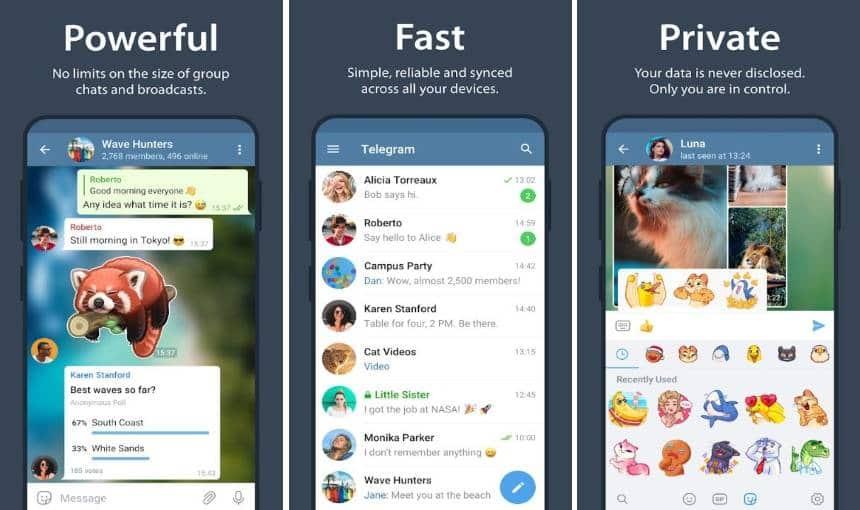 telas do telegram, o app alternativo ao whatsapp mais popular