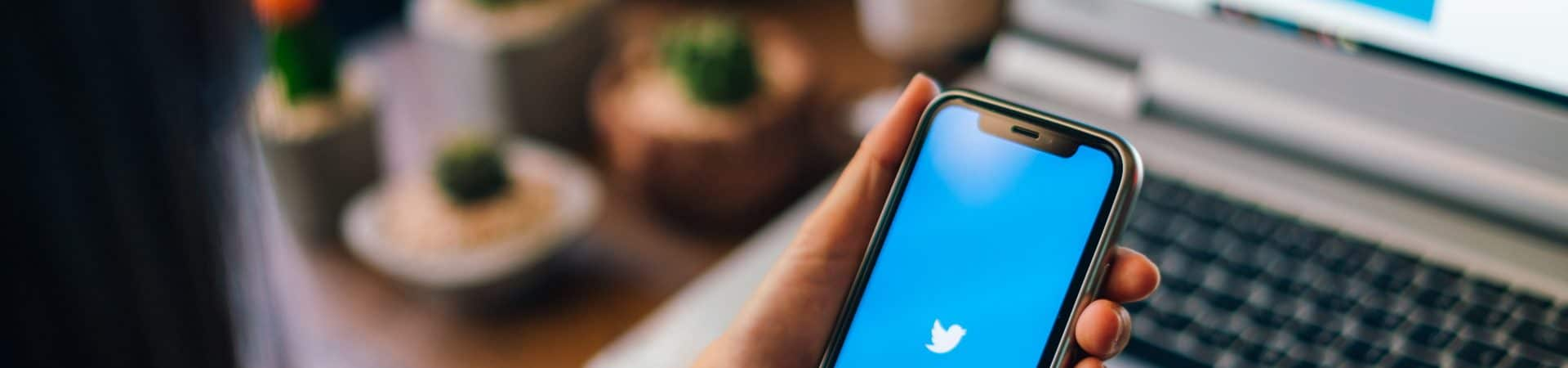 usuário acessando o twitter via smartphone