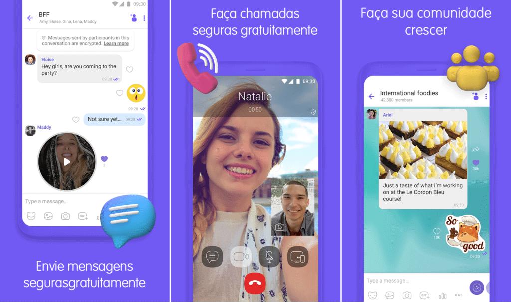 telas do app viber