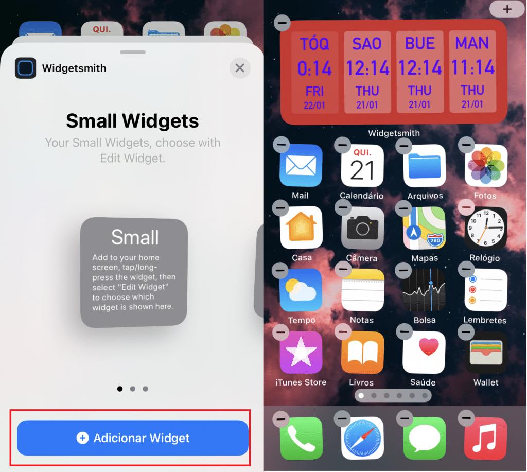 La captura de pantalla muestra cómo crear un widget en iPhone