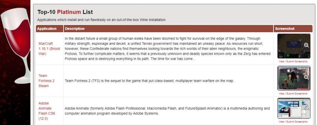 site do projeto wine, que exibe os detalhes da sua versão 6.0