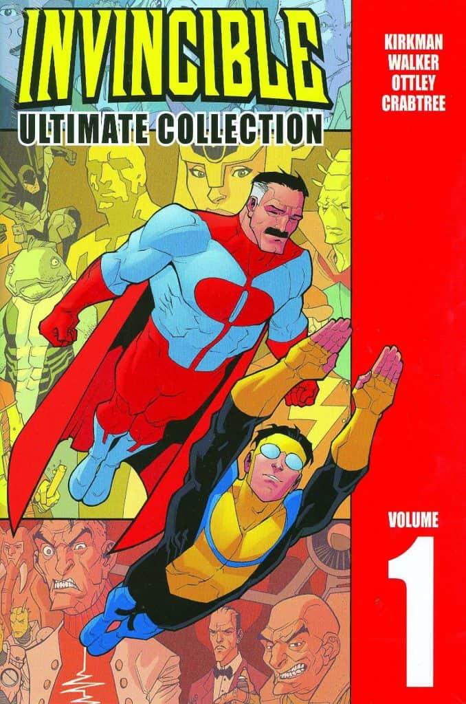 """Capa do primeiro volume da coletânea """"Invincible"""": quadrinhos de Robert Kirkman vão virar série animada pela Amazon Prime Video"""