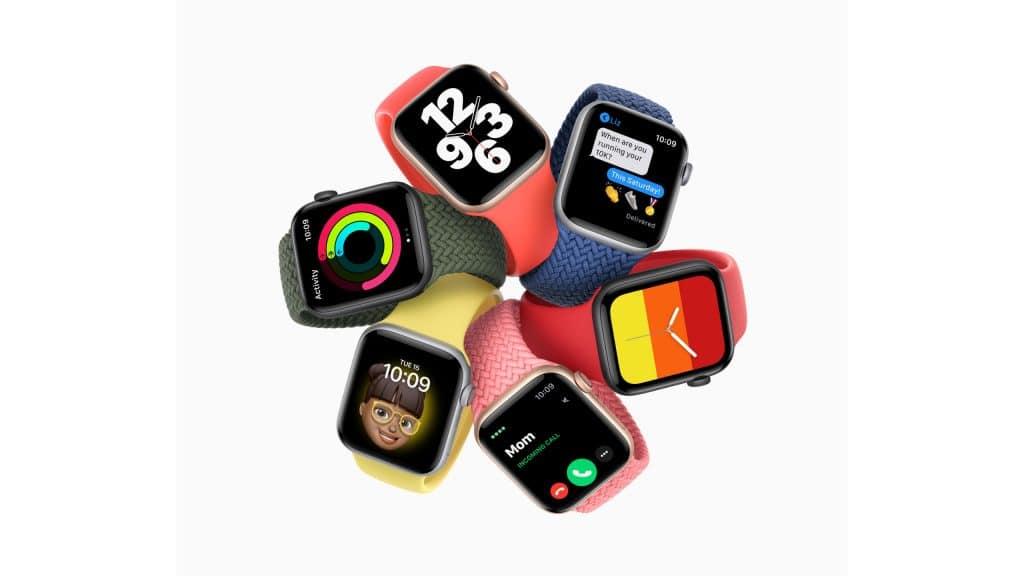 Seis Apple Watch SE, mostrand uma variedade de faces para a tela e estilos de pulseiras
