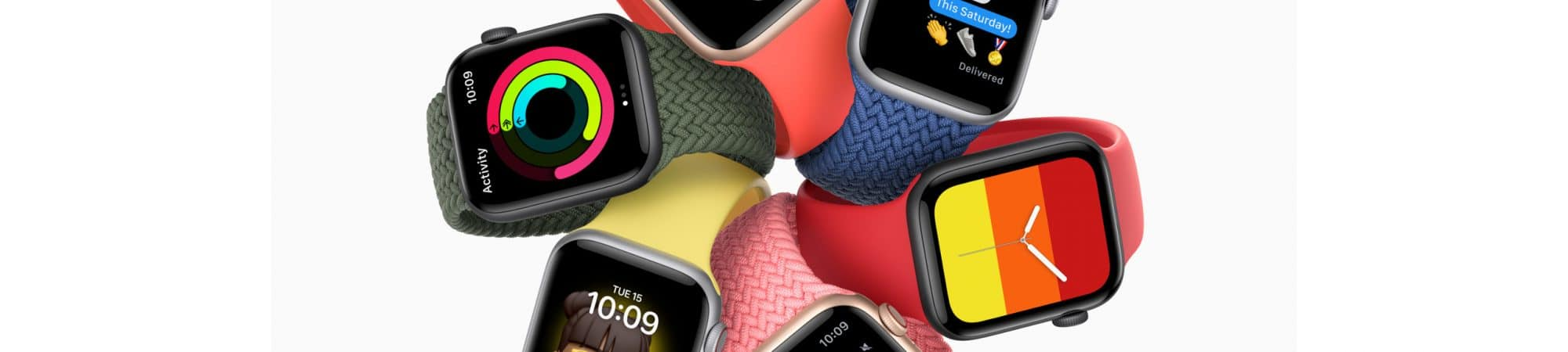 Six Apple Watch SE, showing a variety of screen faces and bracelet styles