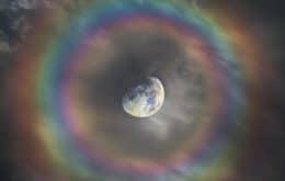 Fotógrafo italiano captura imagem impressionante de arco-íris ao redor da Lua