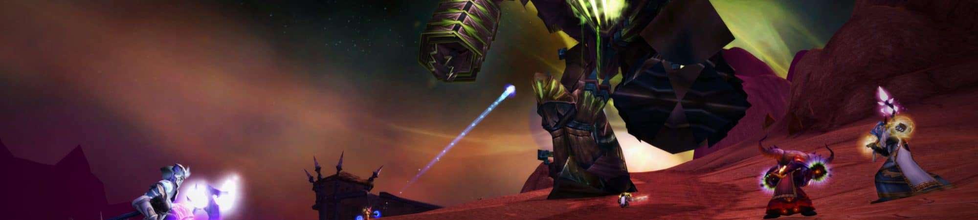 Personagens enfrentam um Fel Reaver em World of Warcraft Classic: The Burning Crusase