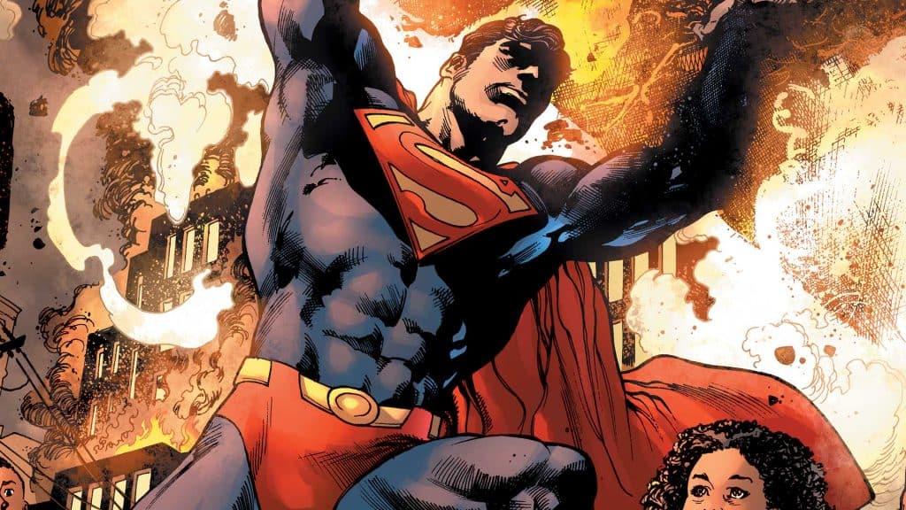 Em parceria firmada entre Spotify, Warner e DC Comics, heróis como Superman, Batman e Mulher-Maravilha devem ganhar podcasts na plataforma de streaming. Na imagem: o Superman levanta uma rocha gigantesca para salvar uma menininha