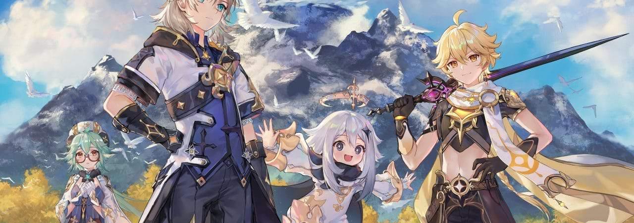Genshin Impact: imagem de divulgação do jogo mostra quatro guerreiros armados com espadas com uma montanha ao fundo