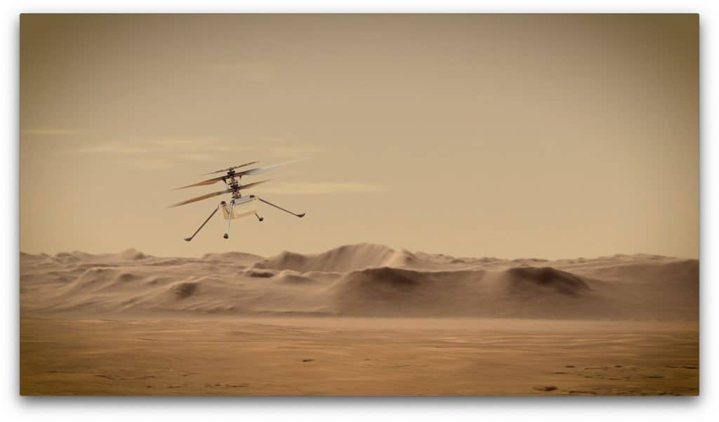 Illustration imagines Ingenuity helicopter flight on Mars