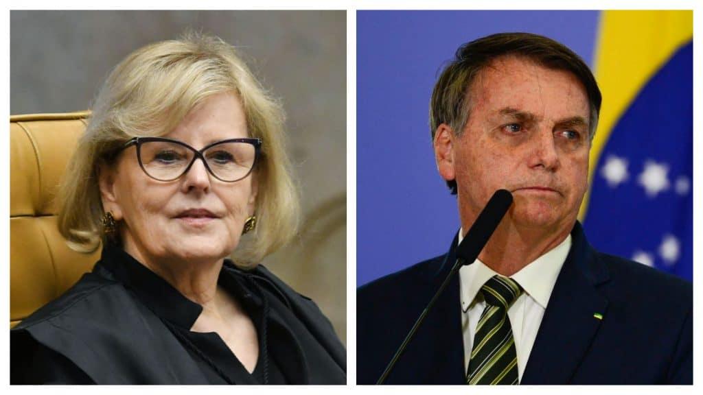 Montagem mostrando a ministra Rosa Weber à esquerda e o presidente Jair Bolsonaro à direita