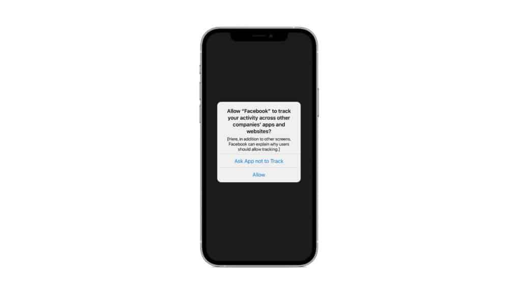 Alerta no iOS 14.5 solicitando ao usuário permissão para o rastreamento via IDFA.