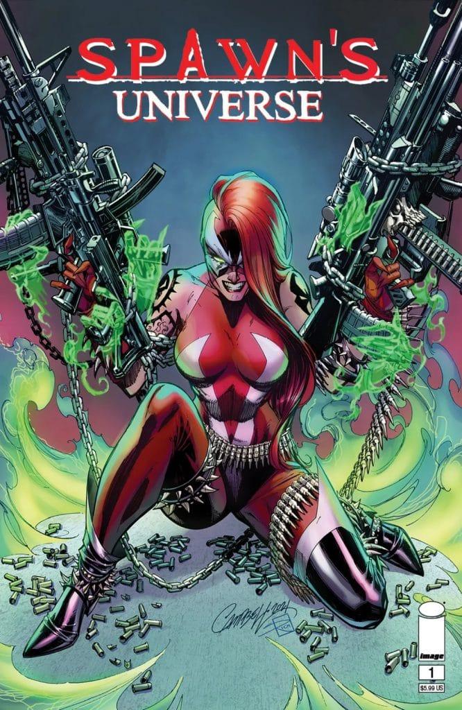 """Capa do livro ilustrado """"Spawn Universe"""", mostrando a personagem """"Mulher-Spawn"""" portando duas metralhadoras"""