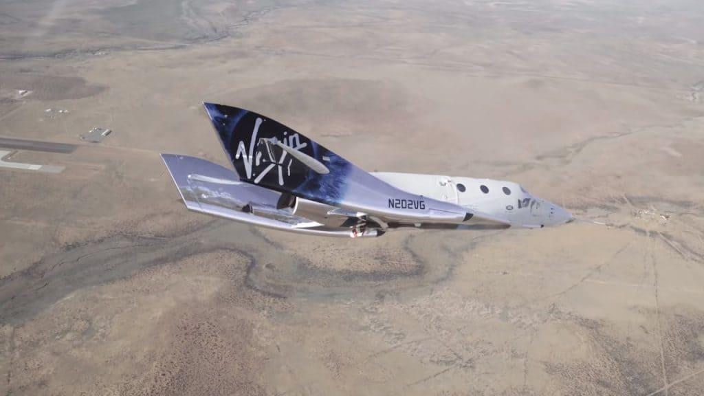 Imagem mostra a VSS Unity, espaçonave da Virgin Galactic, que recentemente obteve aprovação para executar voos espaciais comerciais