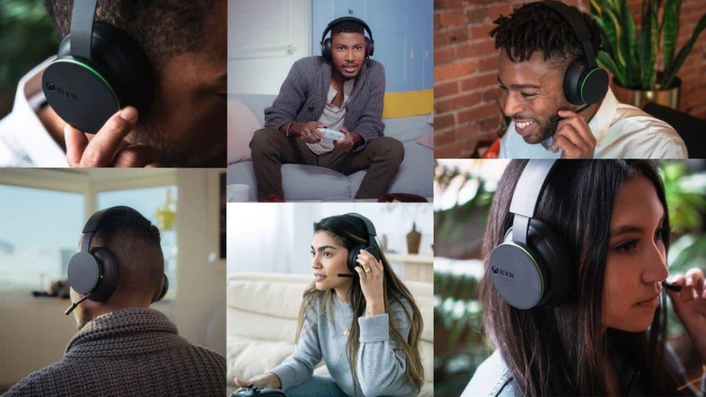 Imagem mostrando várias pessoas usando o headset wireless do Xbox em variadas situações