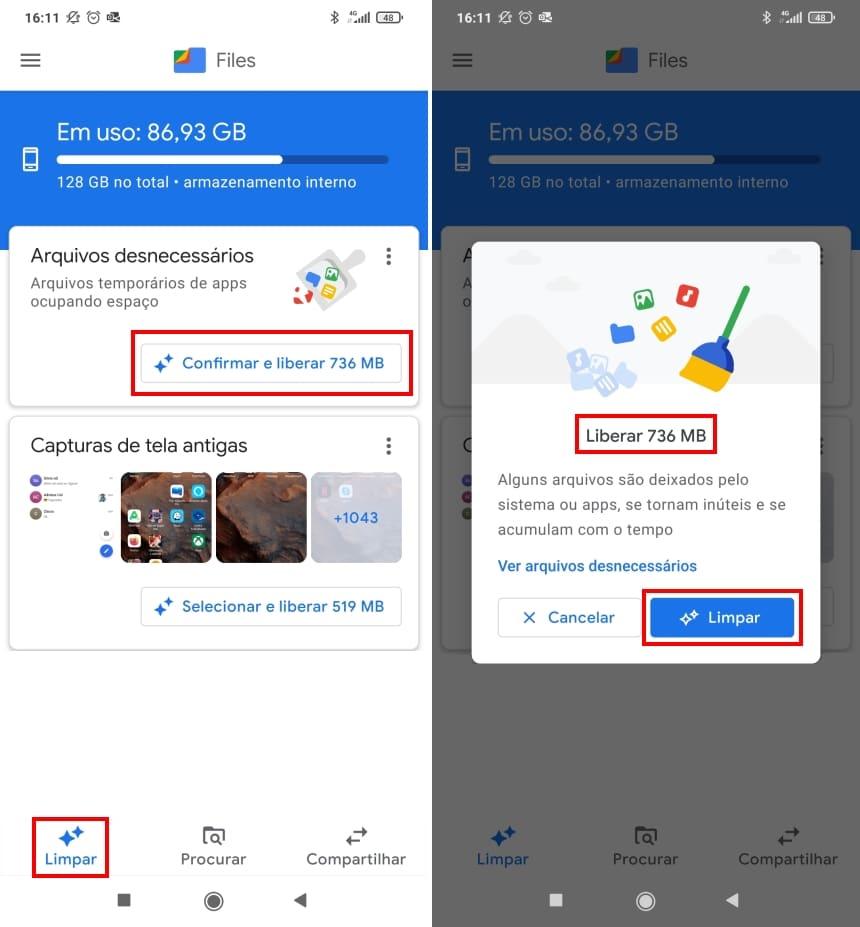 Liberar espaço com Files do Google
