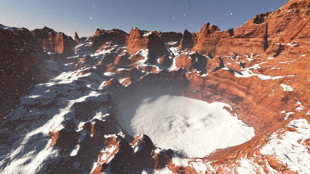 Ilustração mostrando gelo preso em uma cratera em Marte.
