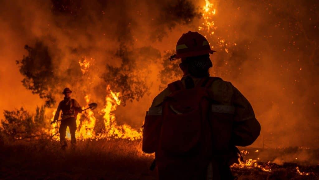 bombeiro em incêndio florestal