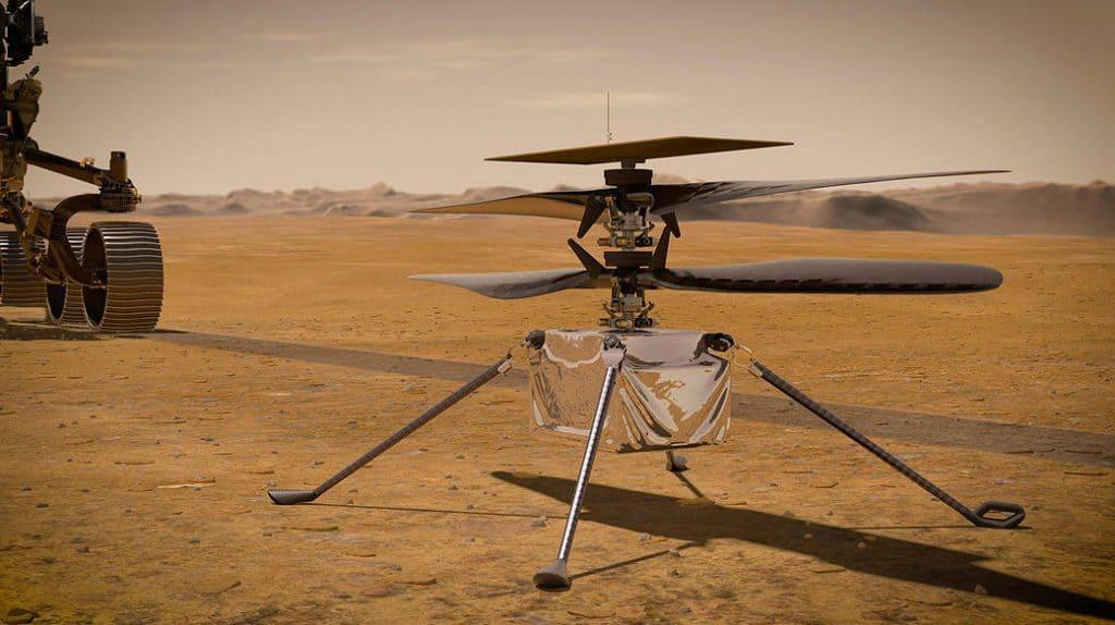 Imagem renderizada mostra o helicóptero Ingenuity, que realizou seu oitavo voo em Marte