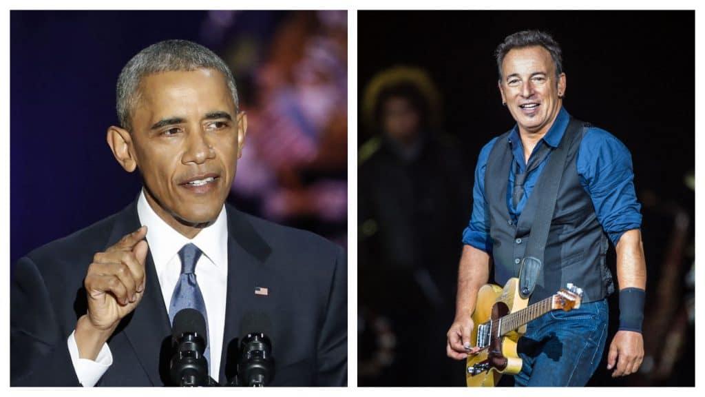 Montagem exibindo Barack Obama e Bruce Springsteen, que apresentam um podcast exclusivo para usuários do Spotify