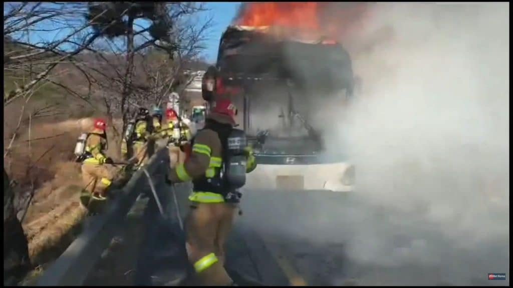 Image of Hyundai electric bus burned down as firefighters try to control the flames