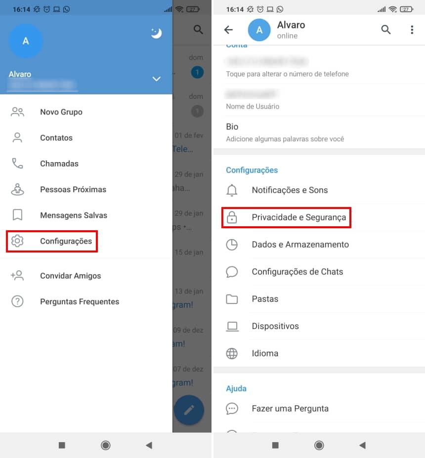 Como deixar o Telegram apagar automaticamente sua conta - Passo 2