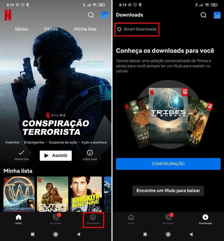 """Como ativar e configurar os """"downloads para você"""" na Netflix - Passo 2"""