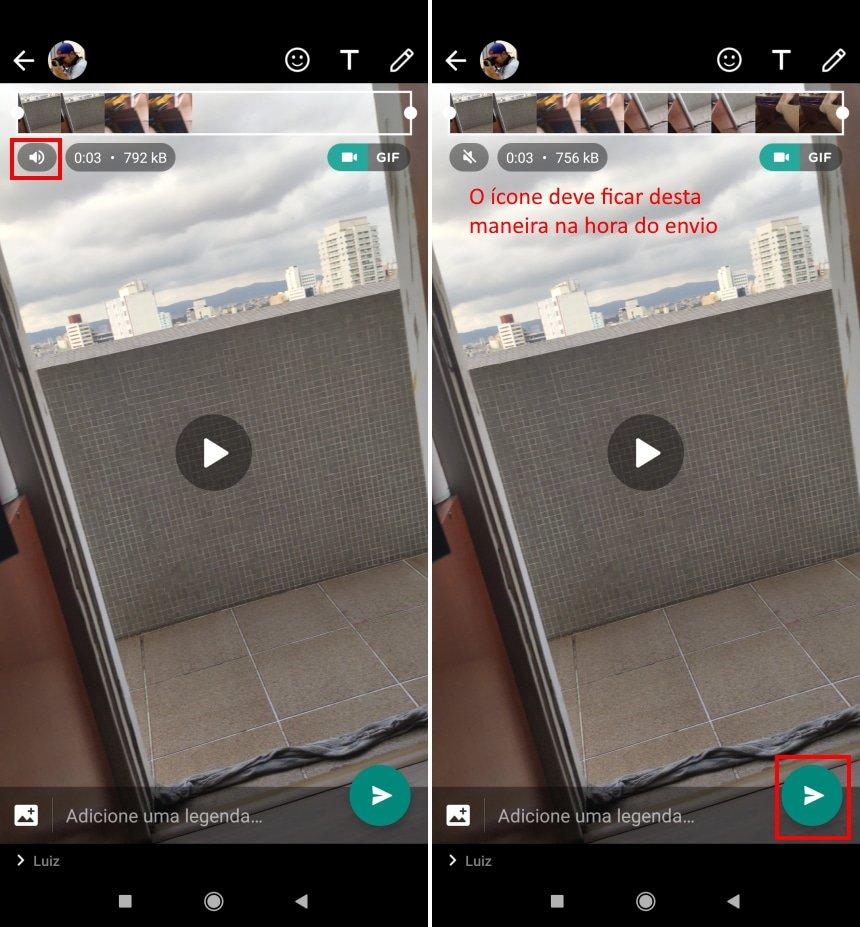 Como remover o som de um vídeo antes de enviá-lo no WhatsApp - Passo 4
