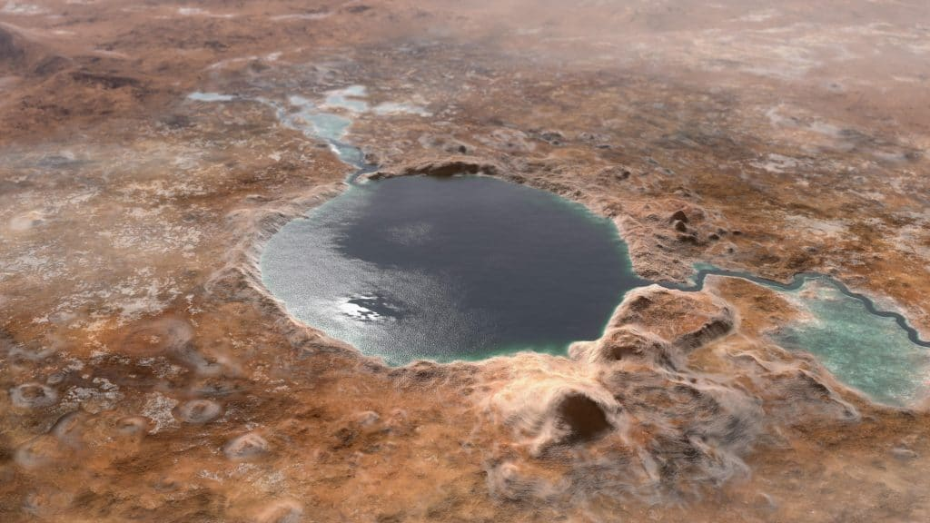 The illustration shows what the Jezero crater looked like billions of years ago. Place was a lake, where a river flowed