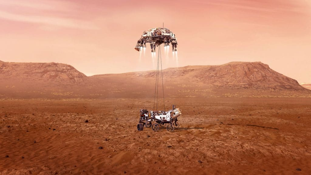 The illustration shows what the Perseverance rover should be touching Mars soil.