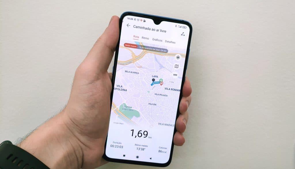 Huawei Health - Registro de caminhada