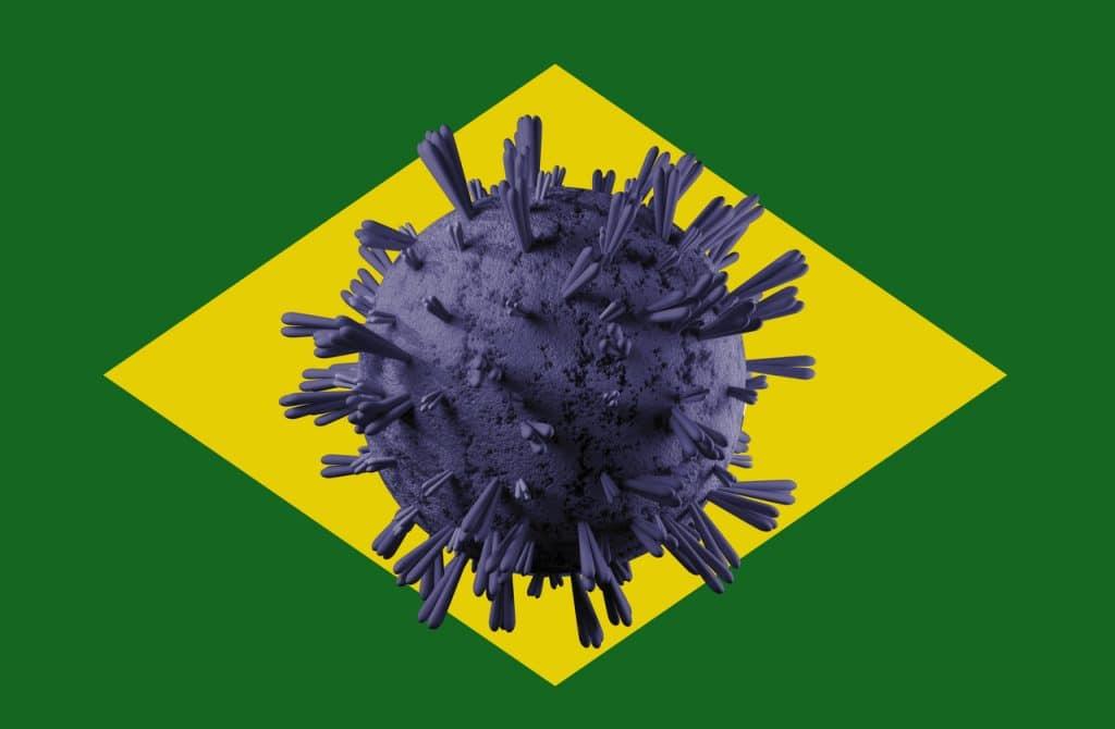 Bandeira do Brasil com o coronavírus