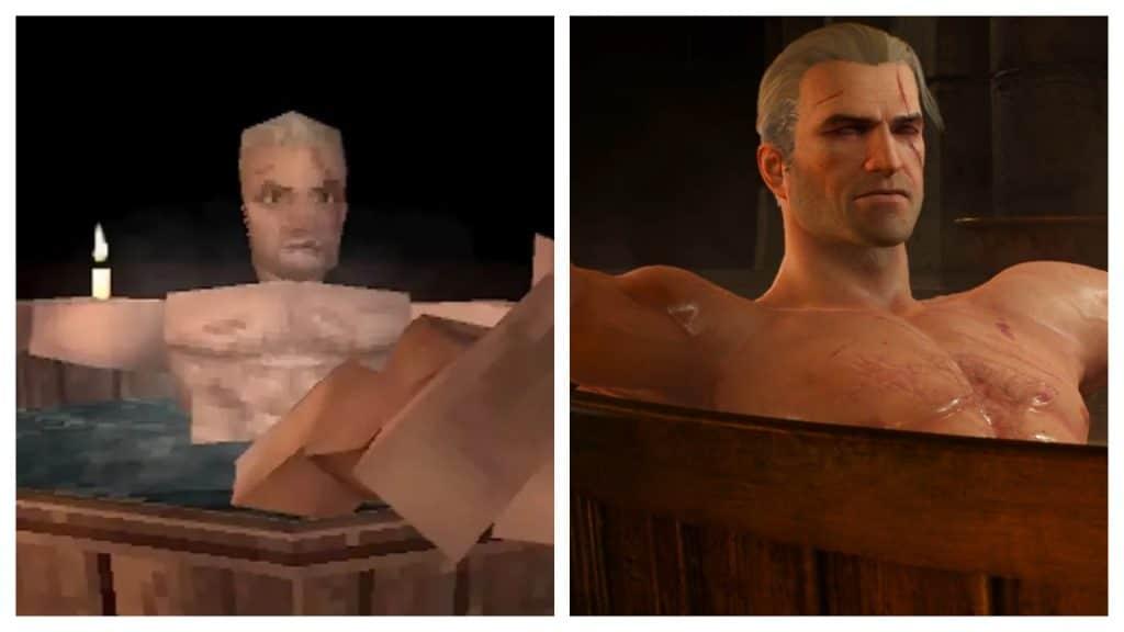 """Quase igual: designer recria a """"cena da banheira"""" de """"Witcher 3: Wild Hunt"""", mas com tratamento gráfico do primeiro PlayStation. Imagem: Anders Lundbjörk/Olhar Digital/Reprodução"""