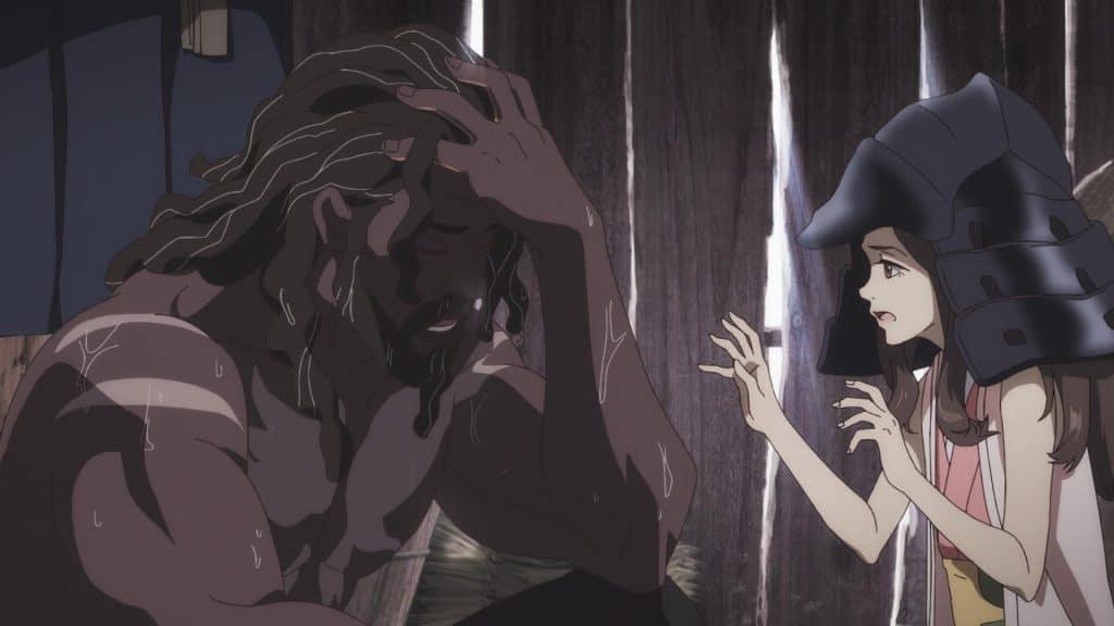 """Cena do anime """"Yasuke"""", da Netflix, onde o samurai africano que protagoniza a série parece estar se recuperando de uma luta, sendo cuidado por uma garota que veste o elmo de sua armadura de combate"""