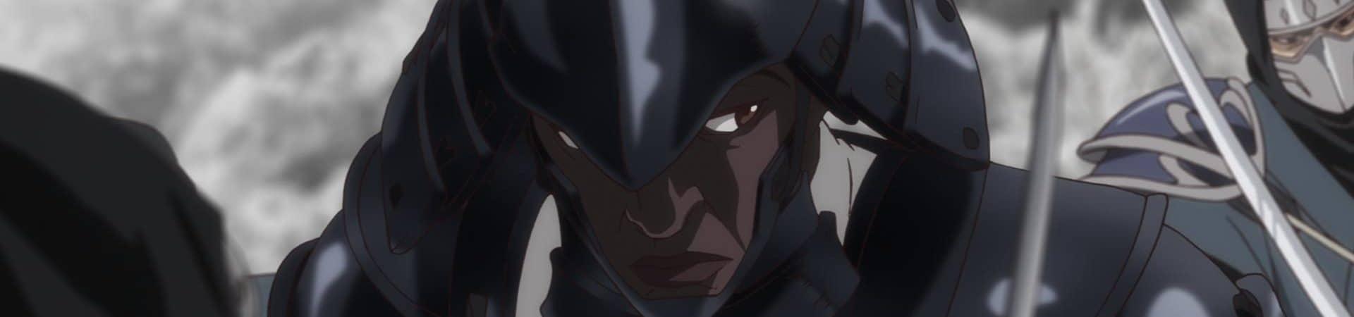 """Imagem mostra cena do anime """"Yasuke"""", da Netflix: nela, um samurai africado veste uma armadura típica japonesa e empunha uma espada"""