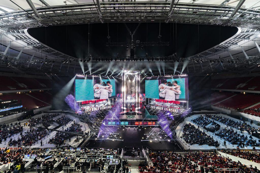 A final do mundial de League of Legends de 2020, em Xangai, China. Imagem: Hugo Hu / Riot Games