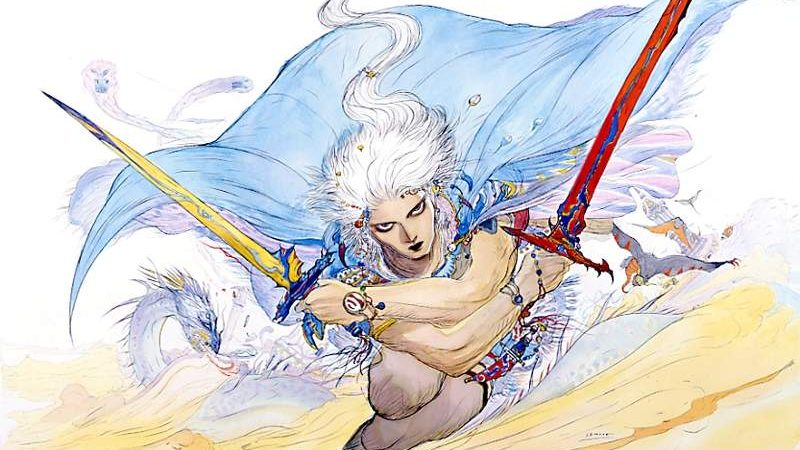 Image shows conceptual art of the Warrior of Light, one of the protagonists of the first Final Fantasy, designed by Yoshitaka Amano