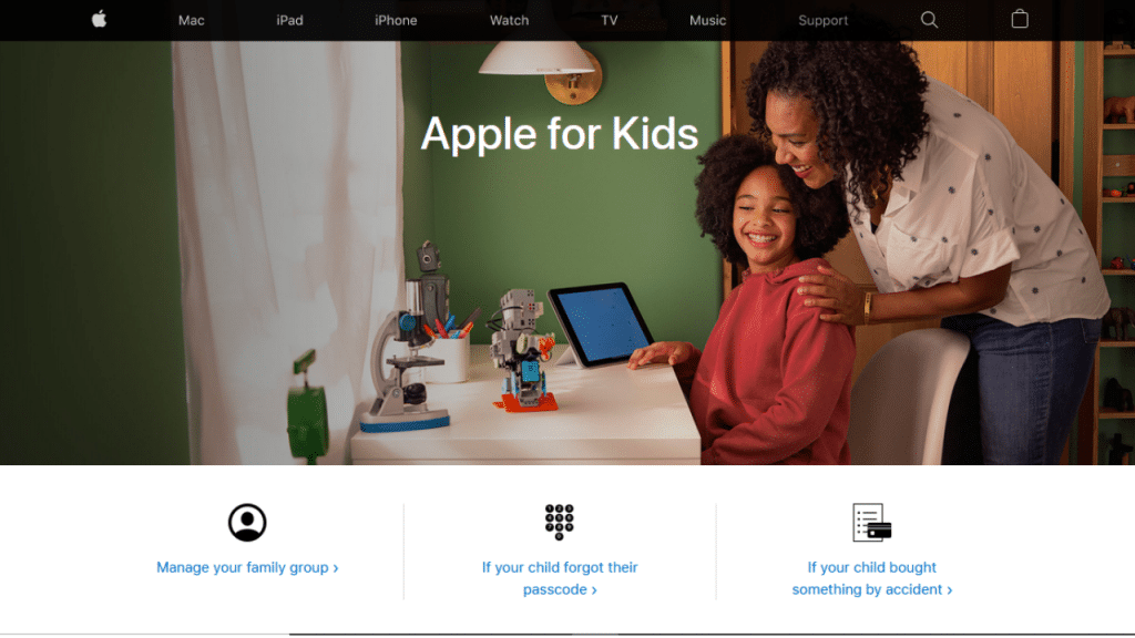 """Image shows the main page of the """"Apple for Kids"""" website, dedicated to the configuration and family management of iPhones, iPads and other devices"""