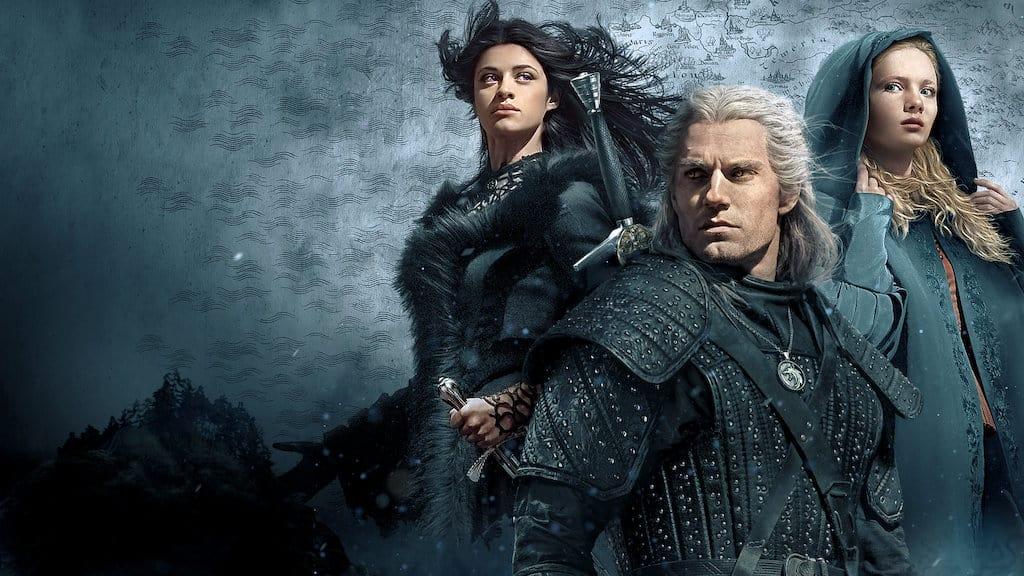 Arte promocional de 'The Witcher', com Henry Cavill, Freya Allan e Anya Chalotra. Imagem: Netflix/Divulgação
